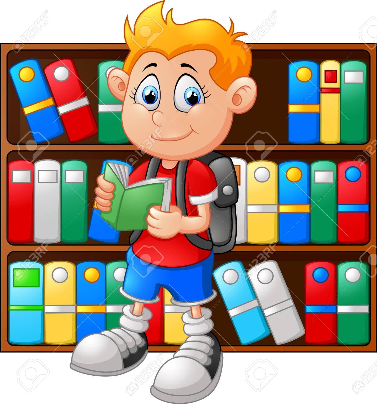 Illustration de garçon dans la bibliothèque.