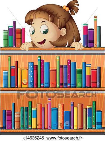 A, espiègle, jeune fille, dans, les, bibliothèque Clipart.
