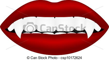 Vector Illustration of Vampire mouth (sexy lips and teeth) on.