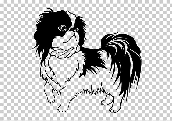 Shih Tzu Japanese Chin Bichon Frise Puppy Line art, puppy.