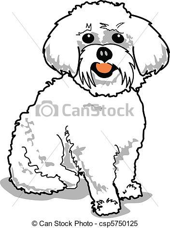 Clipart Vector of Maltese Dog.