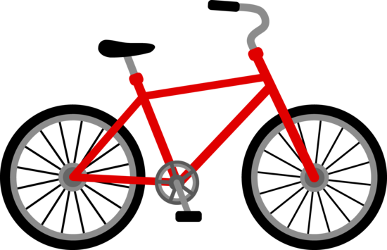 Free clip art of a red bicycle.