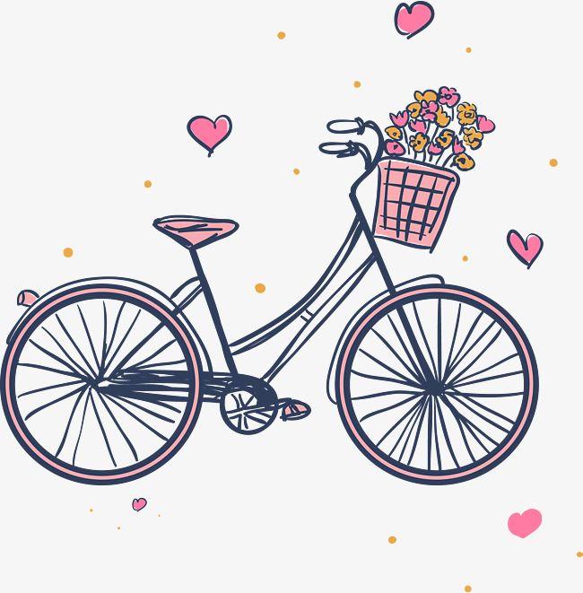 Bicicletas E Cestas De Flores Cor De Rosa, Desenho De Bicicleta.