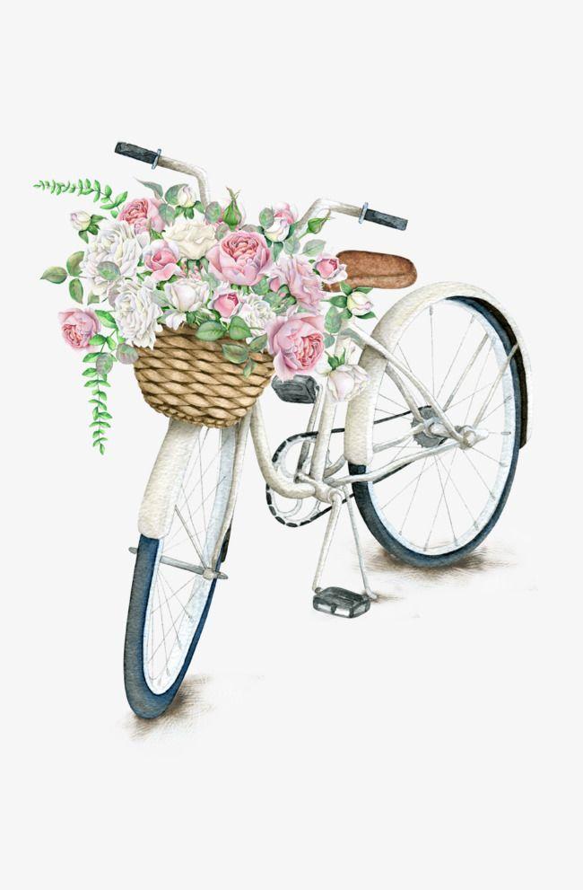 Bicicleta Vintage, Bicicleta, Hermosa, Flores Imagen PNG.