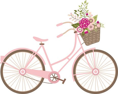 bicycle with flower basket embroidery design.