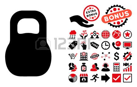 Weight Iron Icon With Bonus Clip Art. Vector Illustration Style.