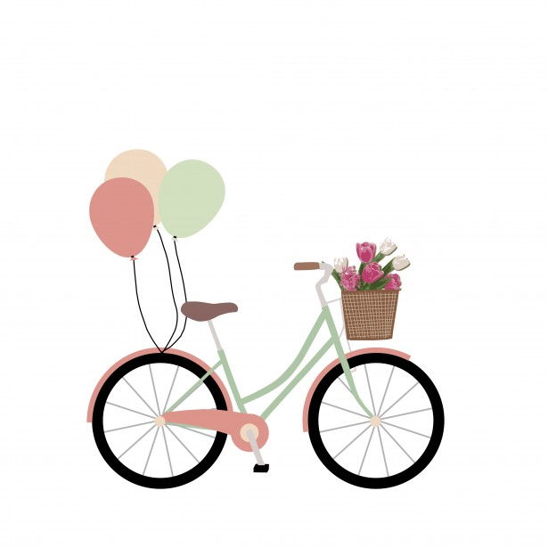 Bike, Bicycle With Balloons Clipart Free Stock Photo.