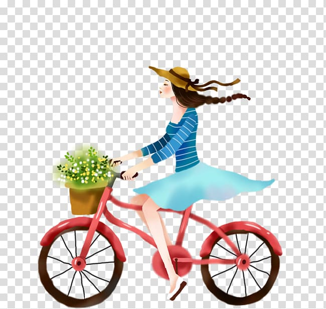 Bicycle Cycling Illustration, Cartoon girl riding a bicycle.