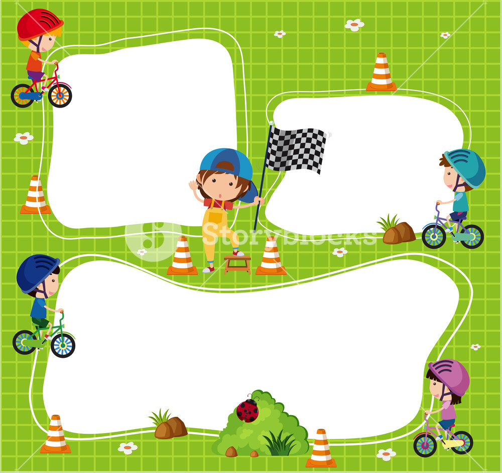 Border template with kids riding bicycle Royalty.