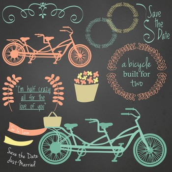 Bicycle Built for Two Clip Art Flowers Swirls Chalkboard Background included.