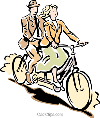 on a bicycle built for two Royalty Free Vector Clip Art.