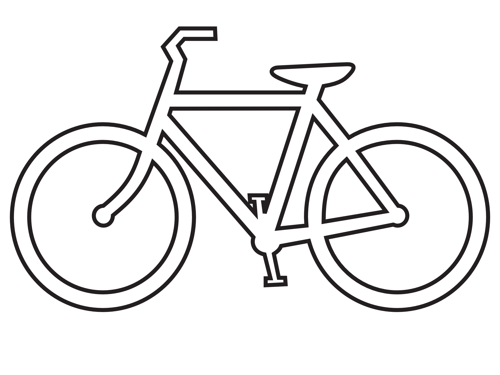 Clip Art: bicycle route sign black white line.