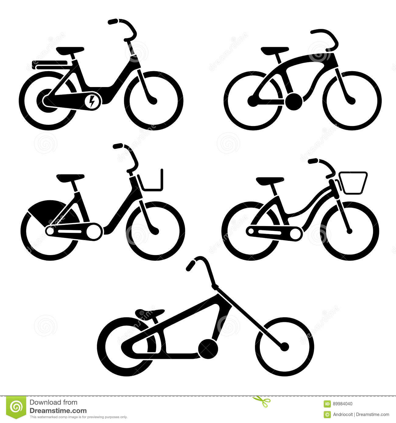 Set Of Bikes Silhouette Icons Stock Vector.