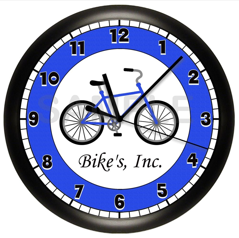 BICYCLE CLOCK WALL PERSONALIZED BIKE CYCLIST SPORT GIFT BLUE 10.