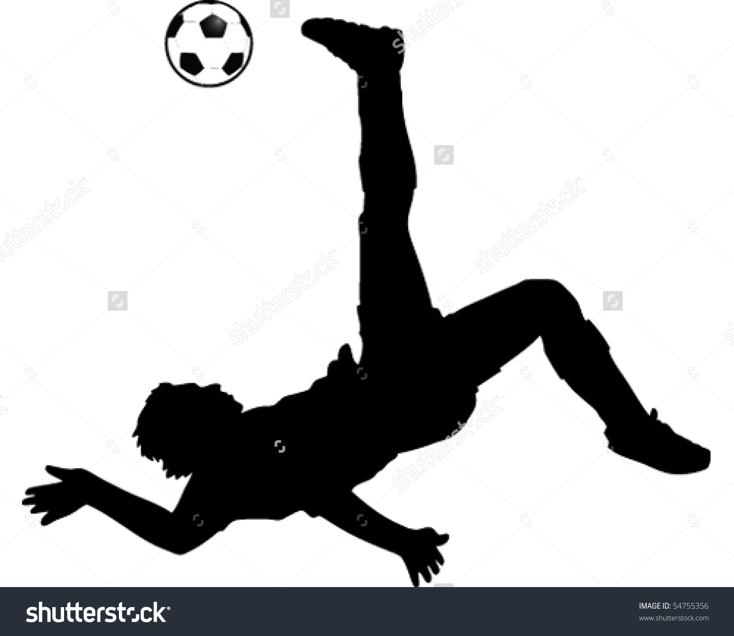 Football Kick Bicycle Kick Stock Vector 54755356.