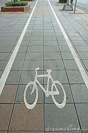 Bicycle Lane Move On Stock Photo.