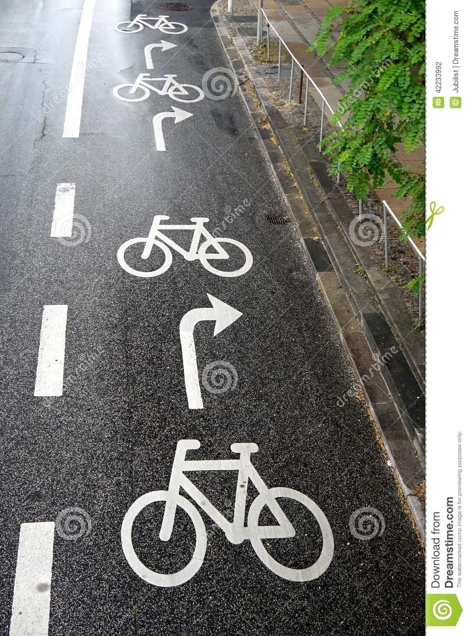 Cycling: Road Markings Bike Lane Stock Photo.