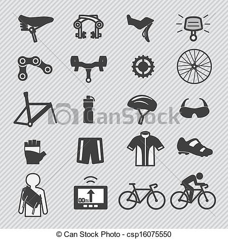 Clipart Vector of Bike tools and equipment part and accessories.