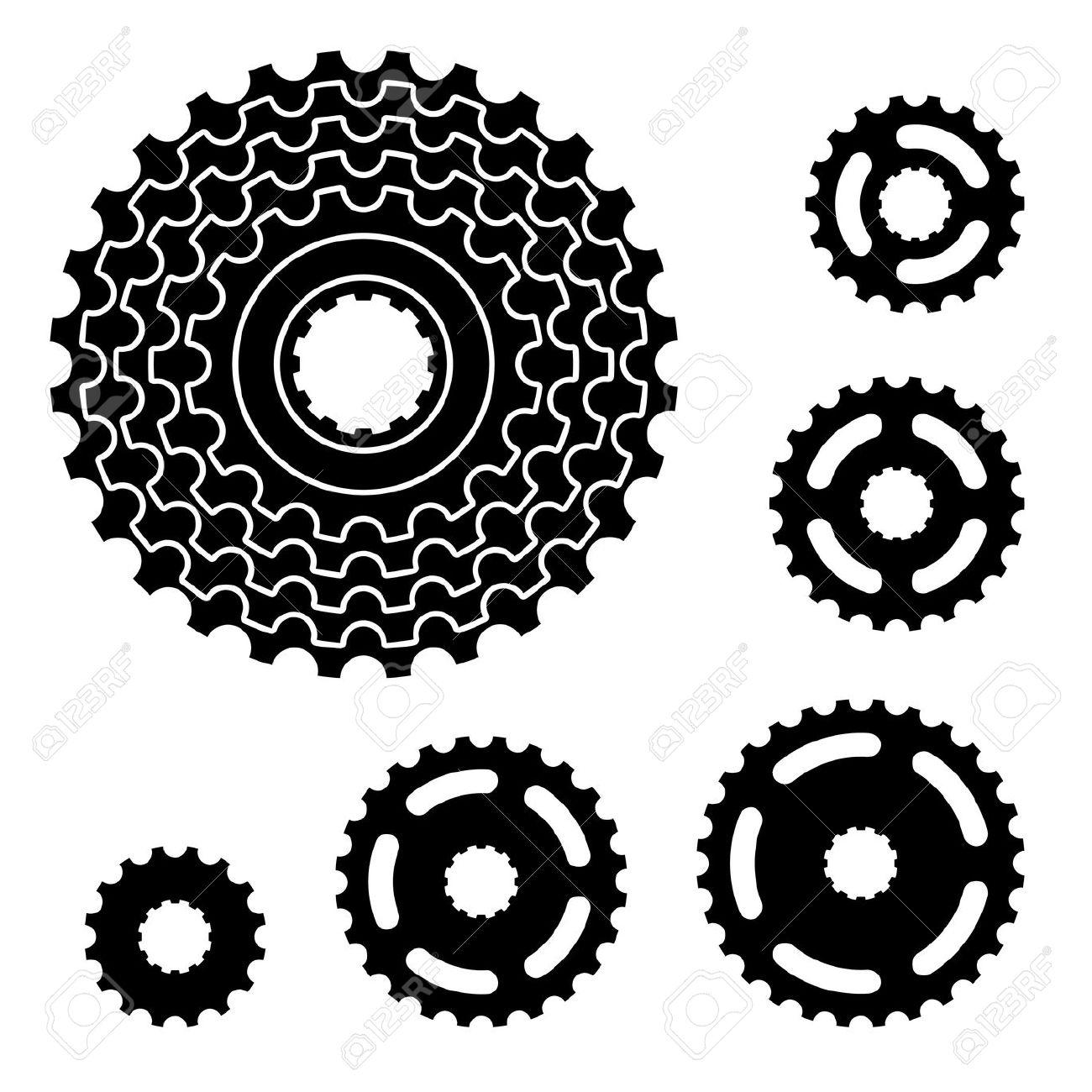 Vector Bicycle Gear Cogwheel Sprocket Symbols Royalty Free.