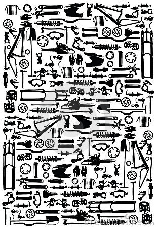 Set Icons Of Bicycle, Biking, Bike Parts And Equipment Stock.