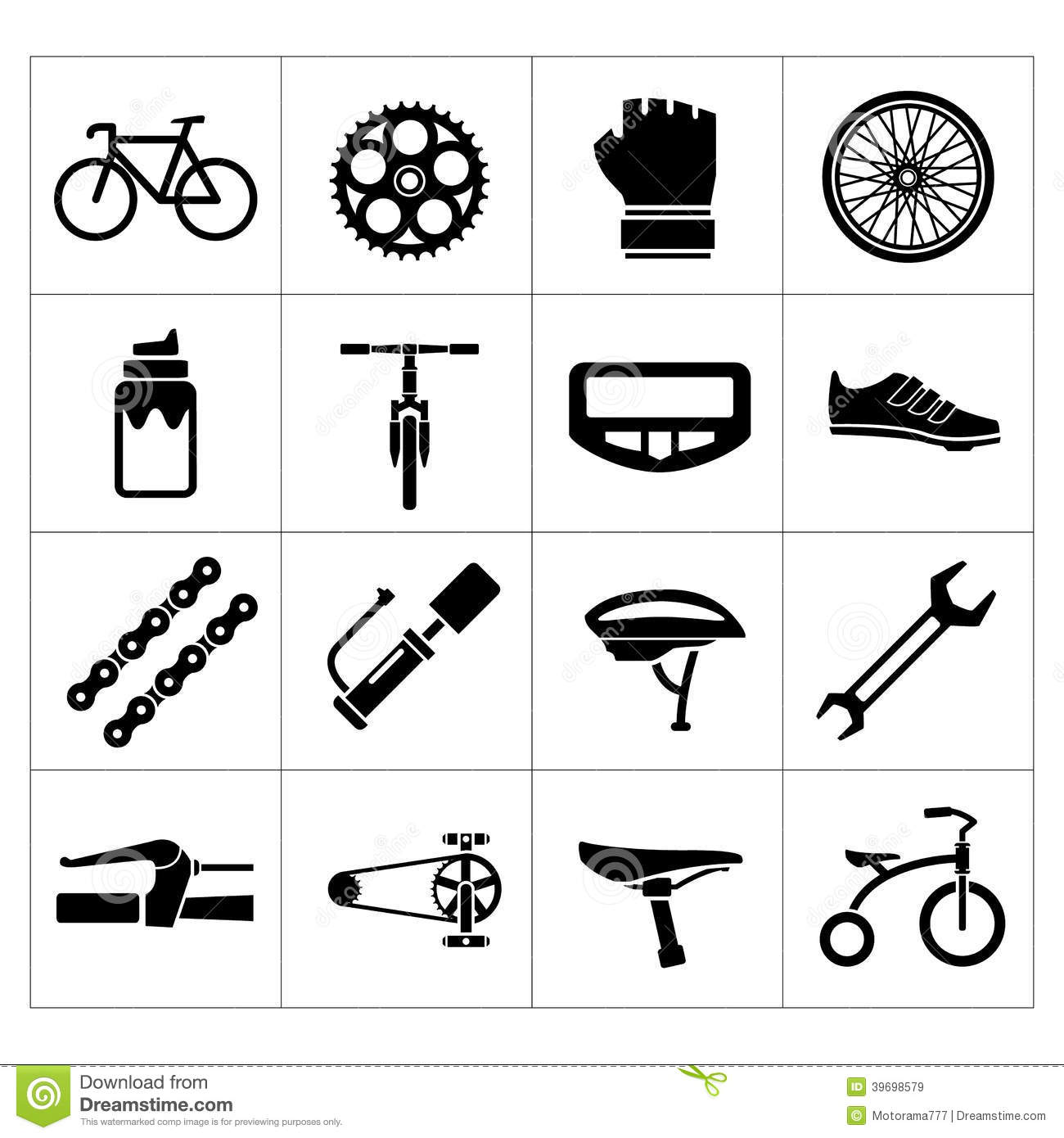 Set Icons Of Bicycle.