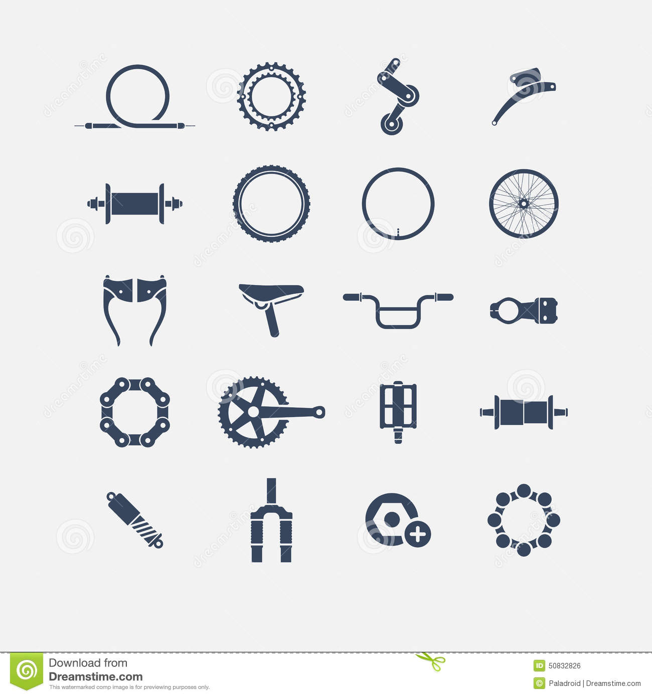 Bicycle Parts Icons Stock Vector.