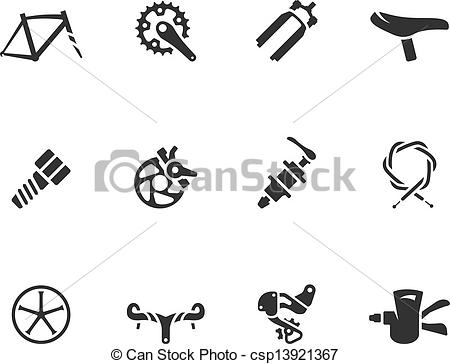Clip Art Vector of BW Icons.
