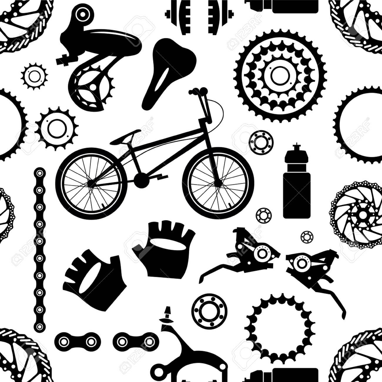 Bike. Bicycle parts. Seamless pattern..