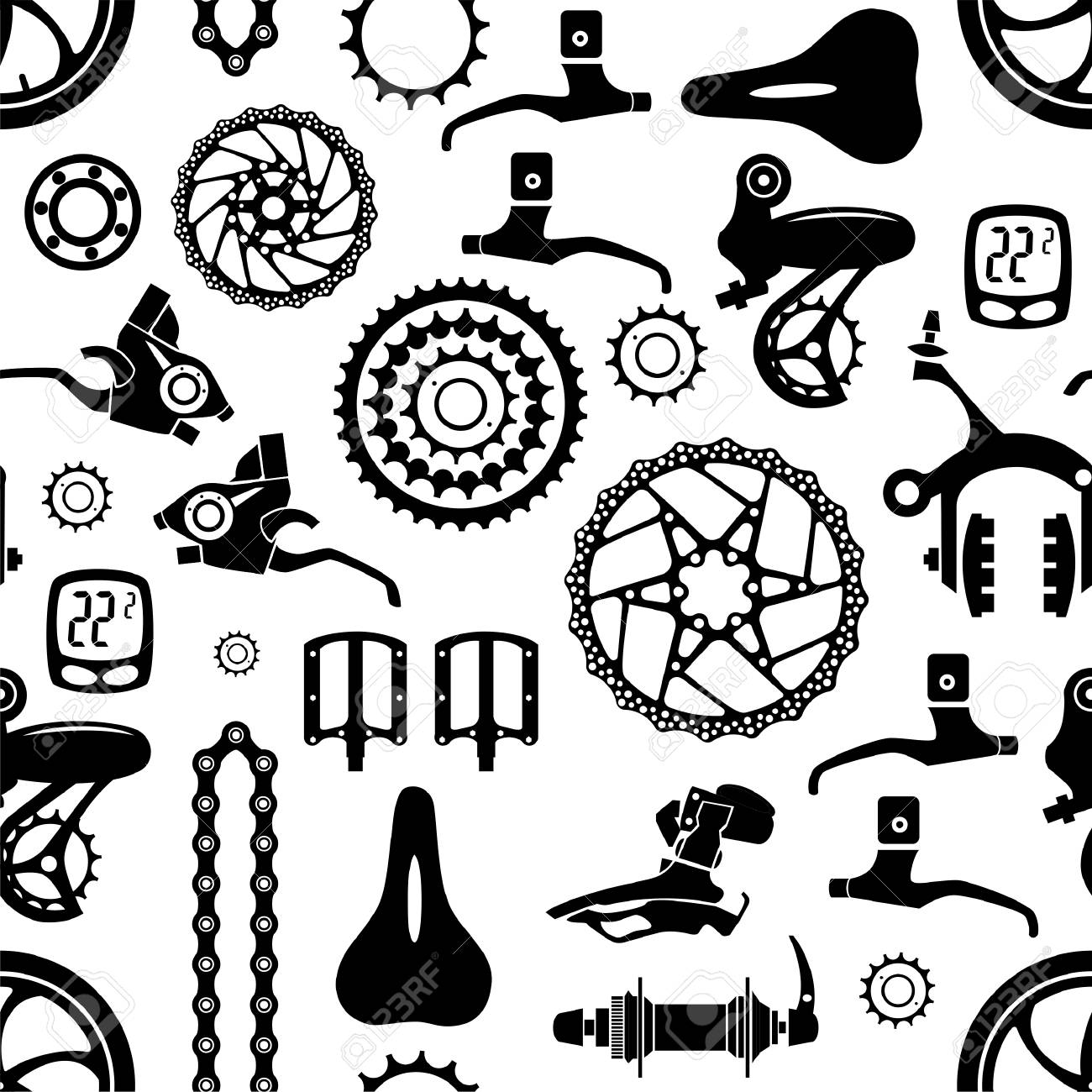 Bicycles. Seamless vector pattern with bicycle parts.