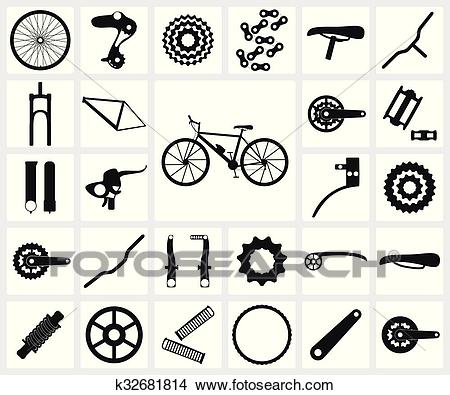 Bicycle spare parts Clipart.