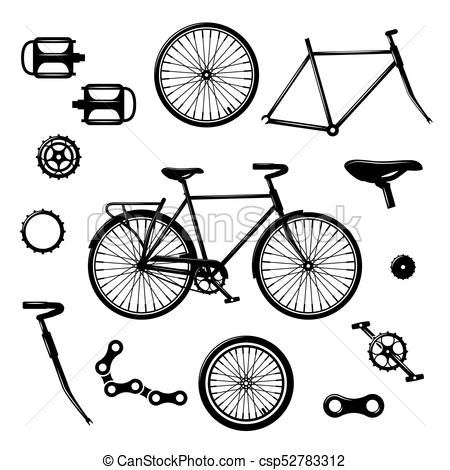Bike parts. Bicycle equipment and components isolated vector set.