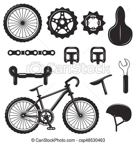 Vector set of bicycle parts isolated icons. Black and white bicycle symbols  and design elements..
