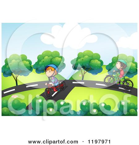 Cartoon of Boys Riding Bikes on Park Paths.