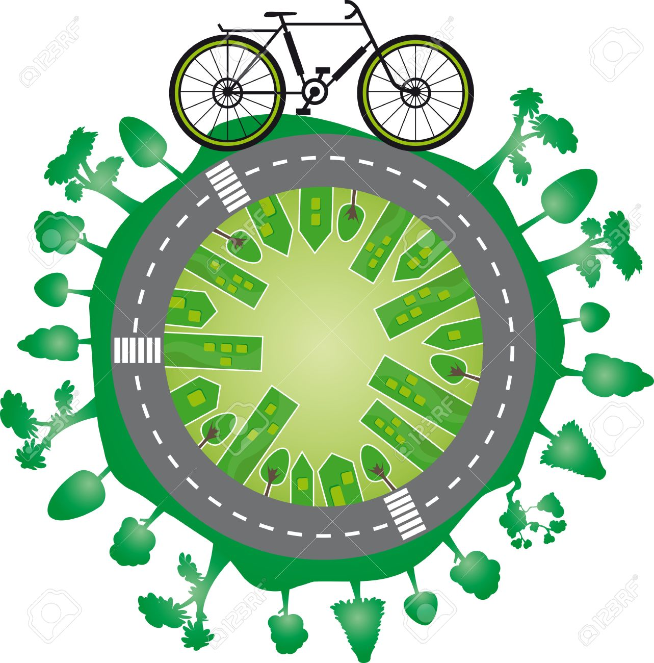 Green World And Bike World City With Green Trees And A Bycicle.