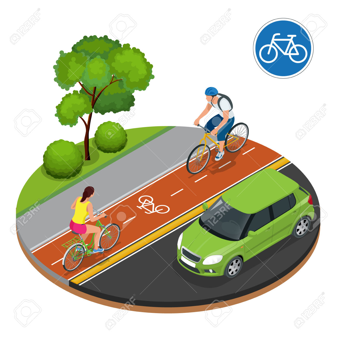 Bikers In City. Cycling On Bike Path. Bicycle Road Sign And Bike.