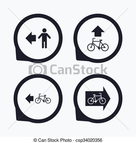 Clipart Vector of Pedestrian road icon. Bicycle path trail sign.