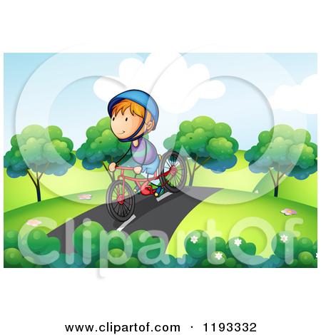 Cartoon of a Happy Boy Riding His Bike on a Path.