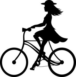 Bike Riding Clipart Image: Clip Art Ilustration silhouette of a girl.