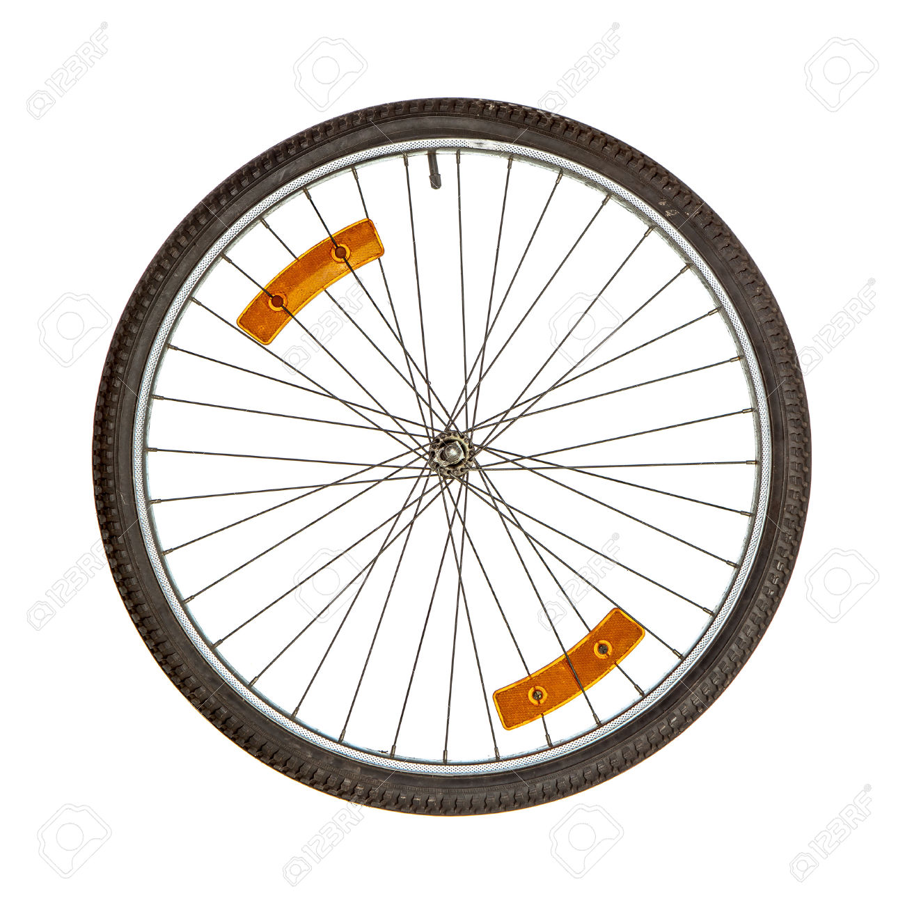 Bicycle Wheel With Two Orange Reflectors On Spikes Isolated Over.