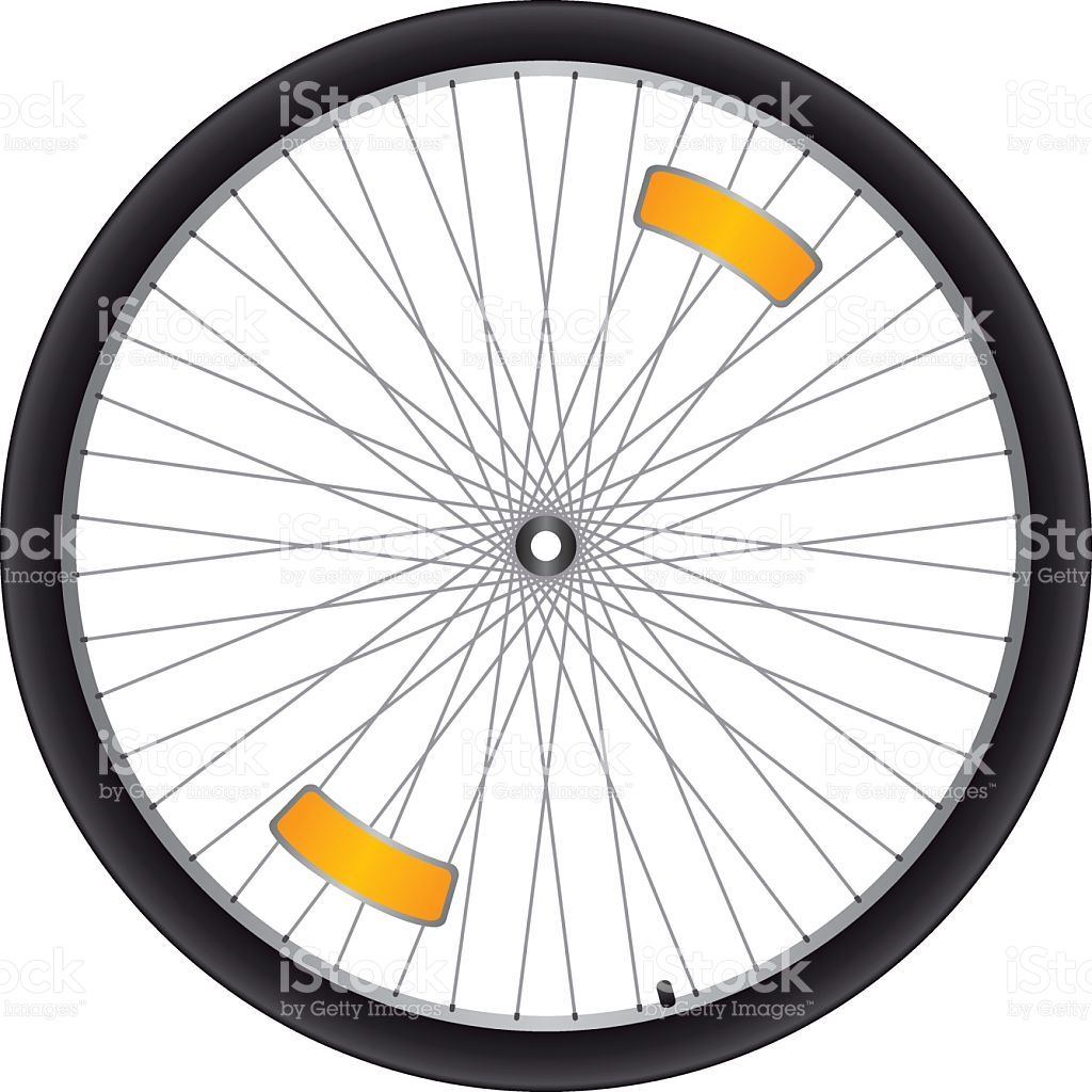 Black Bicycle Wheel With Silver Spokes And Orange Reflectors stock.