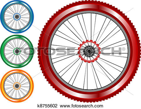 Clipart of set of colored bike wheel with tire and spokes isolated.