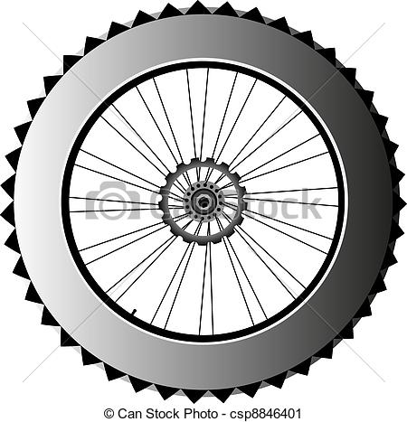 Vector Clip Art of metal bike wheel with tire and spokes. vector.