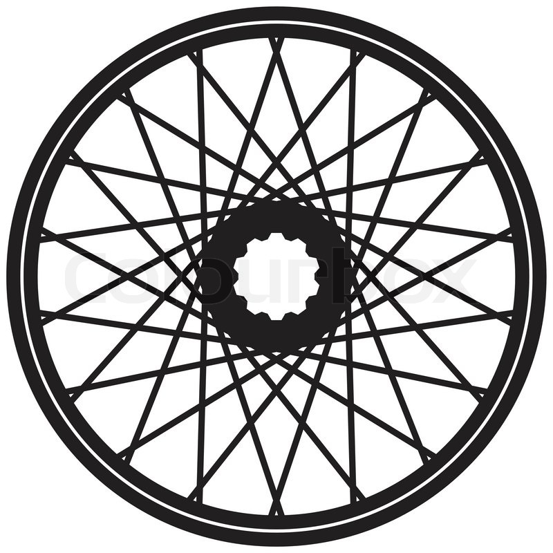 Set of colored bike wheel with tire and spokes.