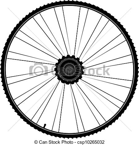 Vectors of bike wheel with spokes and tire isolated on white.