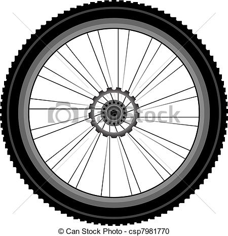 EPS Vector of bike wheel with tire and spokes isolated on white.