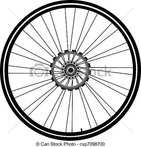 Vector Clipart of bike wheel isolated on white.