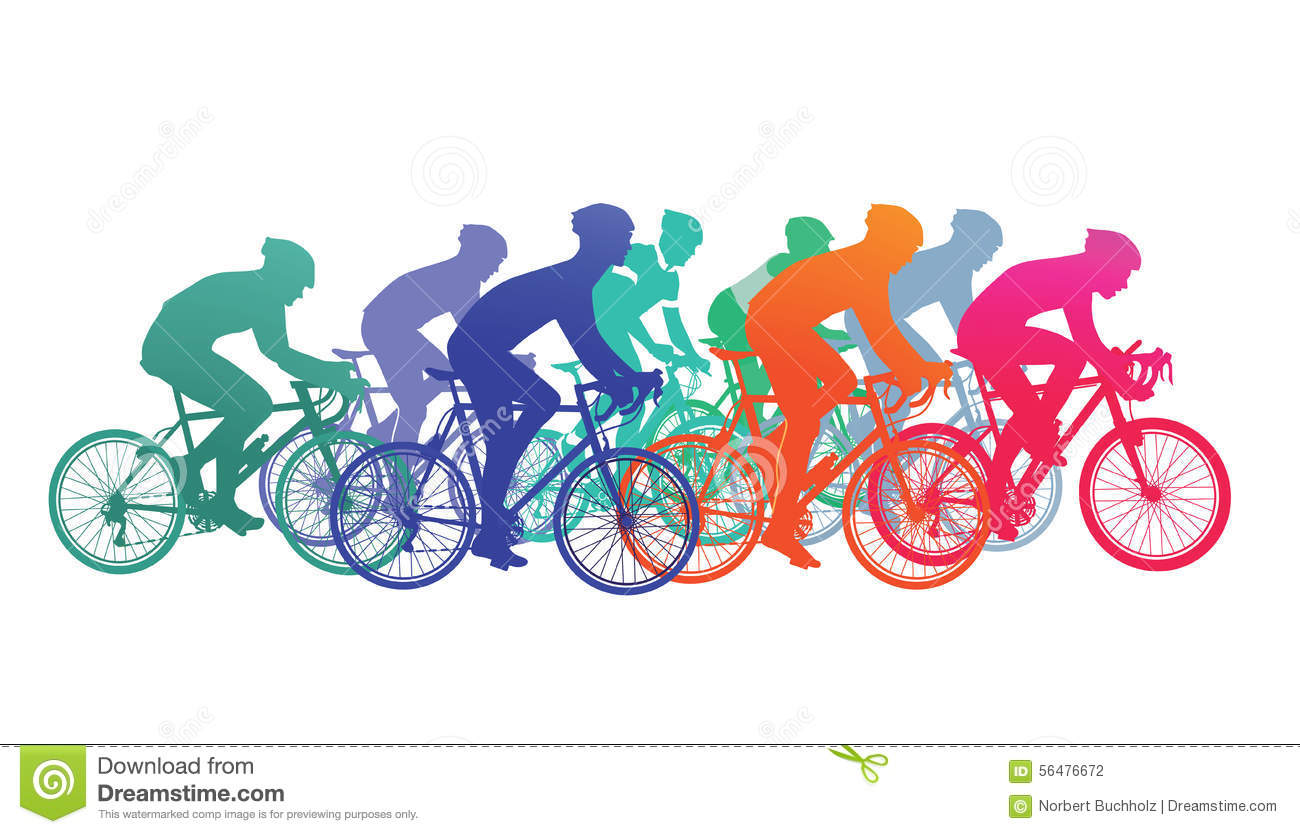 Racing cyclists clipart #12