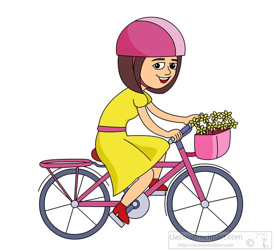Clipart girl riding bike.