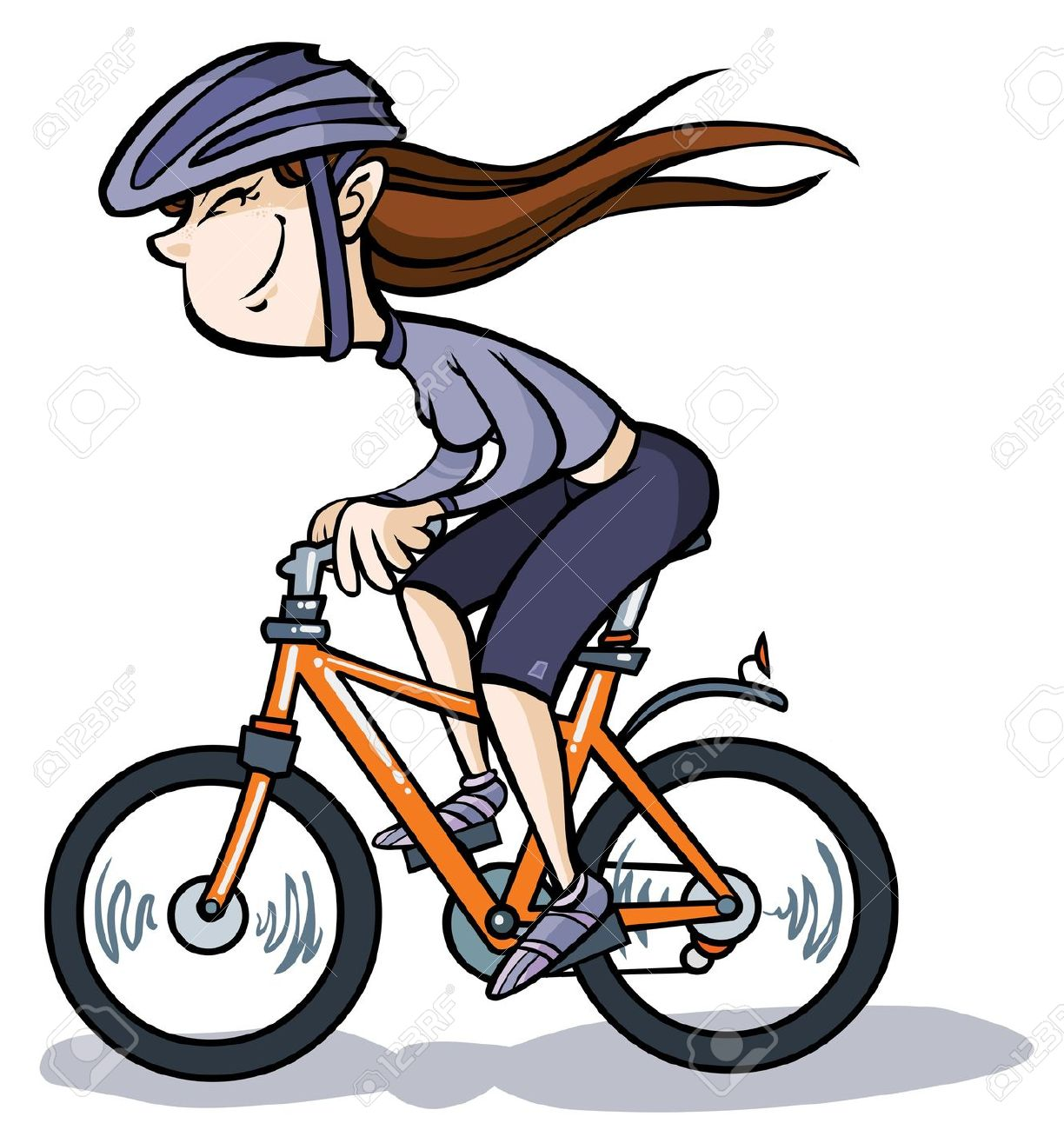 Cartoon Girl On Bike Royalty Free Cliparts, Vectors, And Stock.