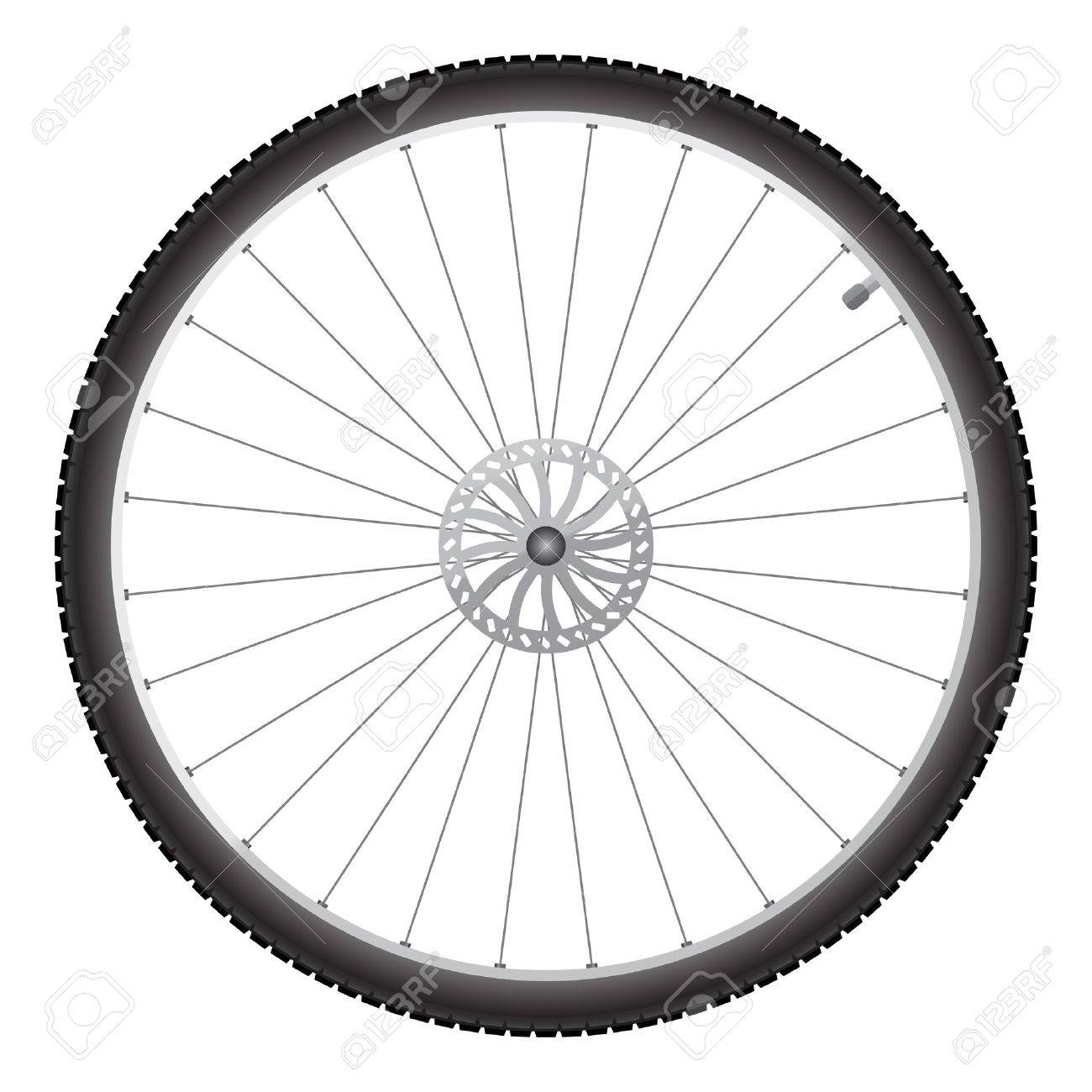 Black bicycle wheel on a white background.